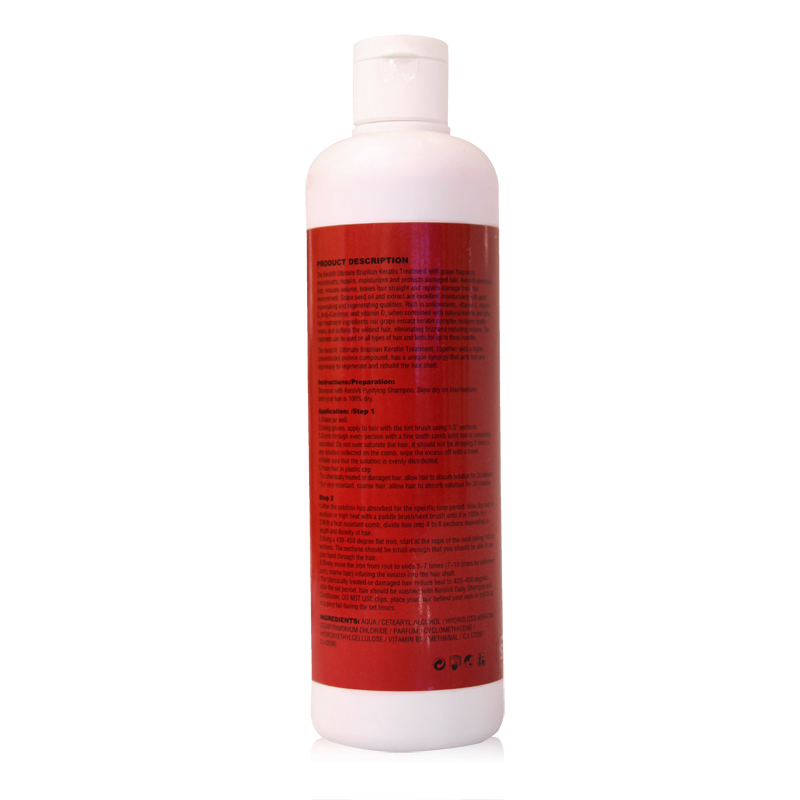 3st 500ml Högkvalitativ Grape Hair Keratinbehandling 8% Formalin - Hårvård och styling - Foto 2