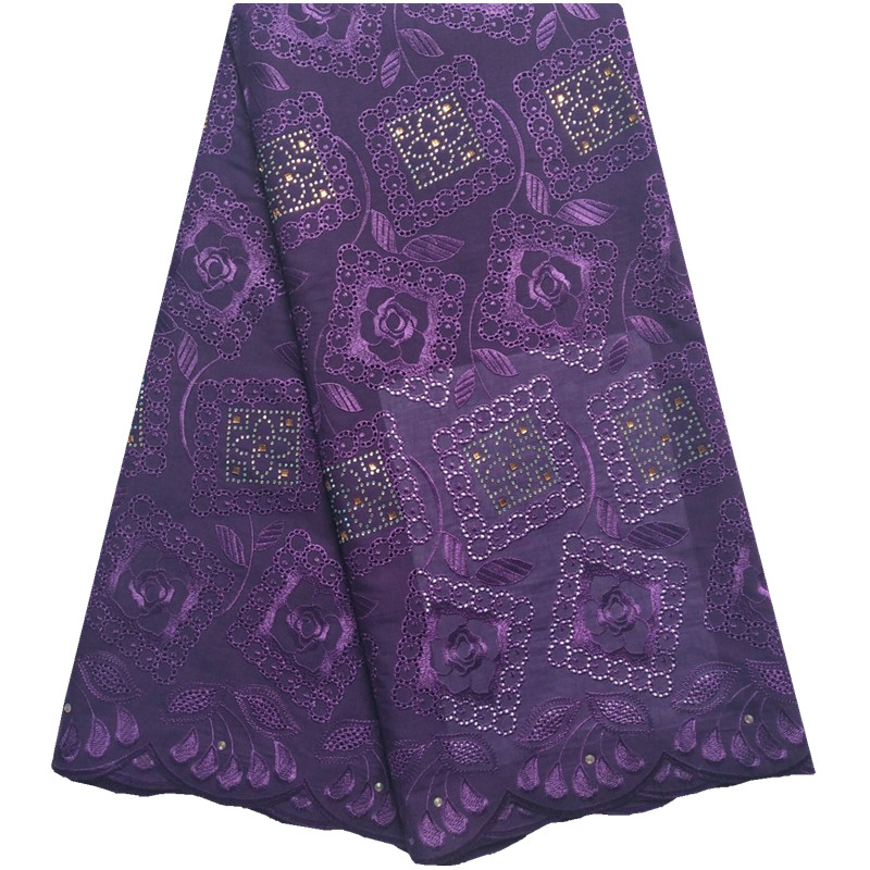 Best Sale Lace Cotton Swiss Voile Laces Purple Color African Swiss Lace Material Fabric Embroidered Laces