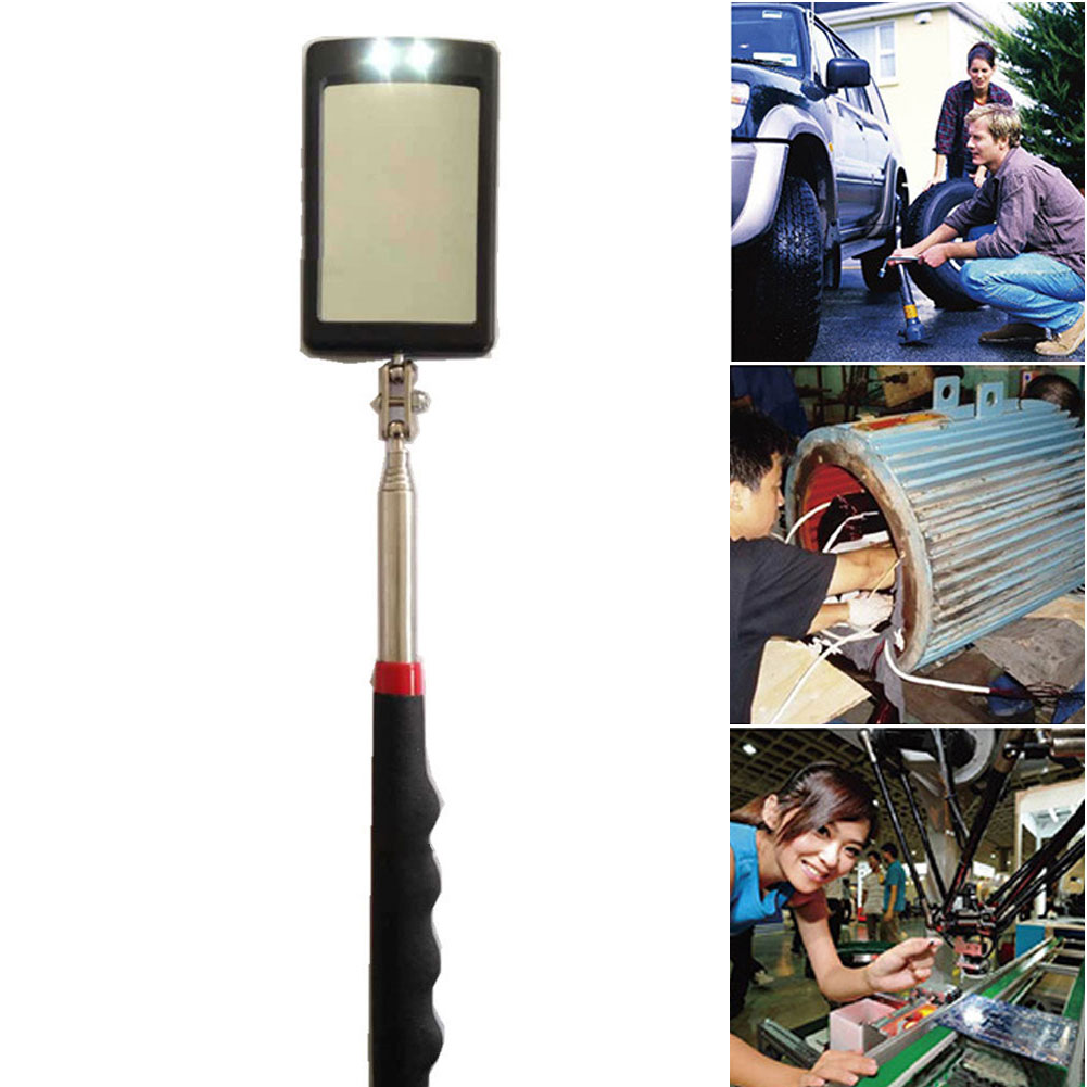 Inspection Mirror Detection Rubber Grip Telescopic Vehicle Bottom Amplification Dual Ball Joint Led Foldable Handle Inner Wall