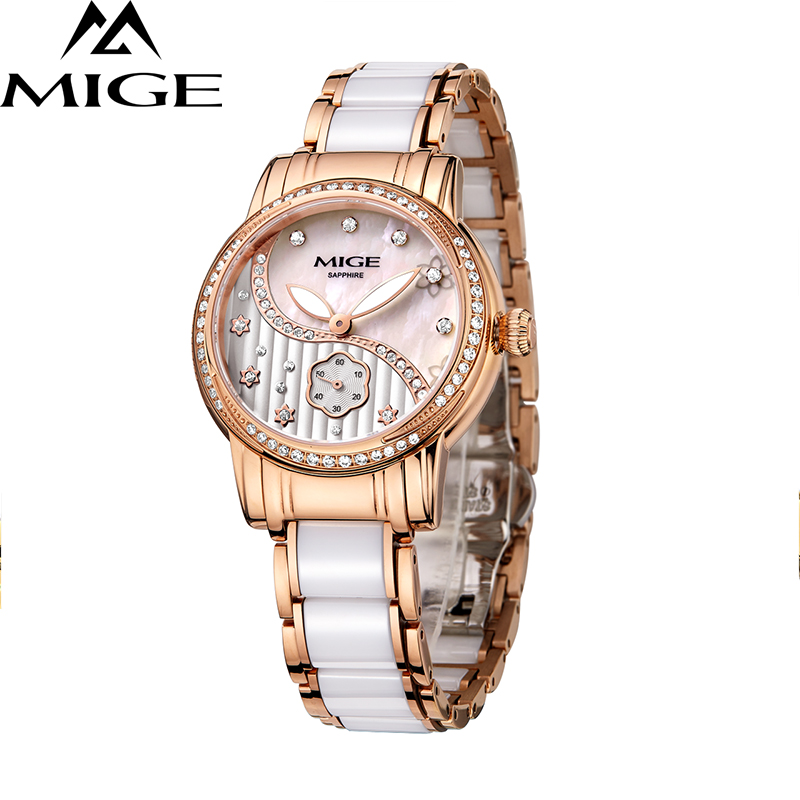 2017 New Hot Sale Mige Ceramic Watchband Female Clock Ladies White Rose Fashion Waterproof Watch Japan Quartz Women Wristwatches