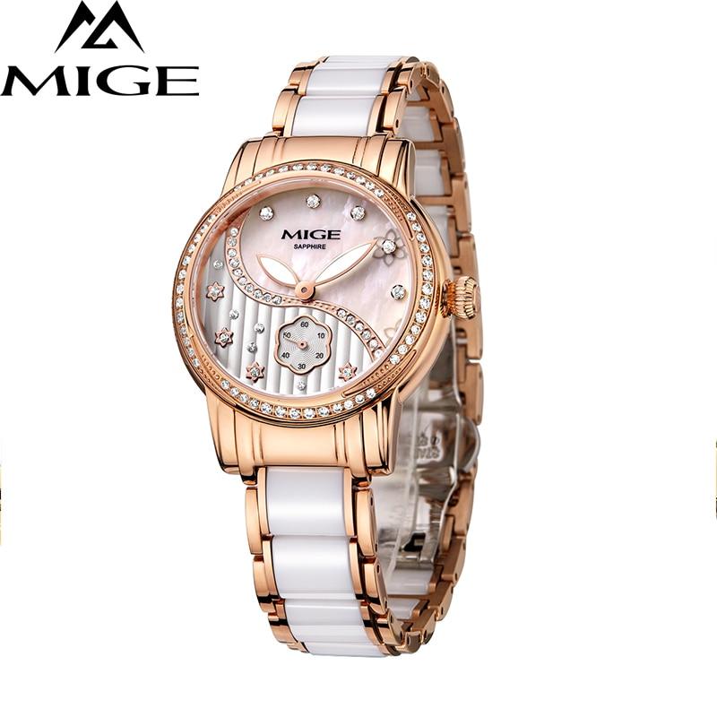2017 New Hot Sale Mige Ceramic Watchband Female Clock Ladies White Rose Fashion Waterproof Watch Japan Quartz Women Wristwatches