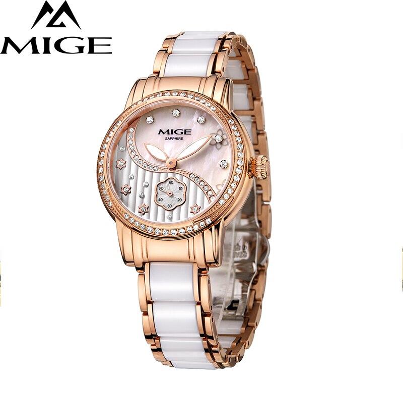 2017 nouvelle offre spéciale Mige céramique bracelet de montre femme horloge dames blanc Rose mode étanche montre japon Quartz femmes montres