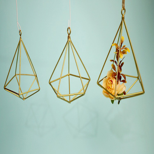 Metal Vase Iron Geometry Hanging Planter Geometric Wall Decor Container Mounted Flower Pots Home