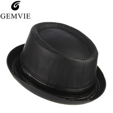 GEMVIE Autumn Winter Men Hats Simple Fashion Leather Fedora Hat Classical  Roll Brim Jazz Cap Warm 6264f60609d1