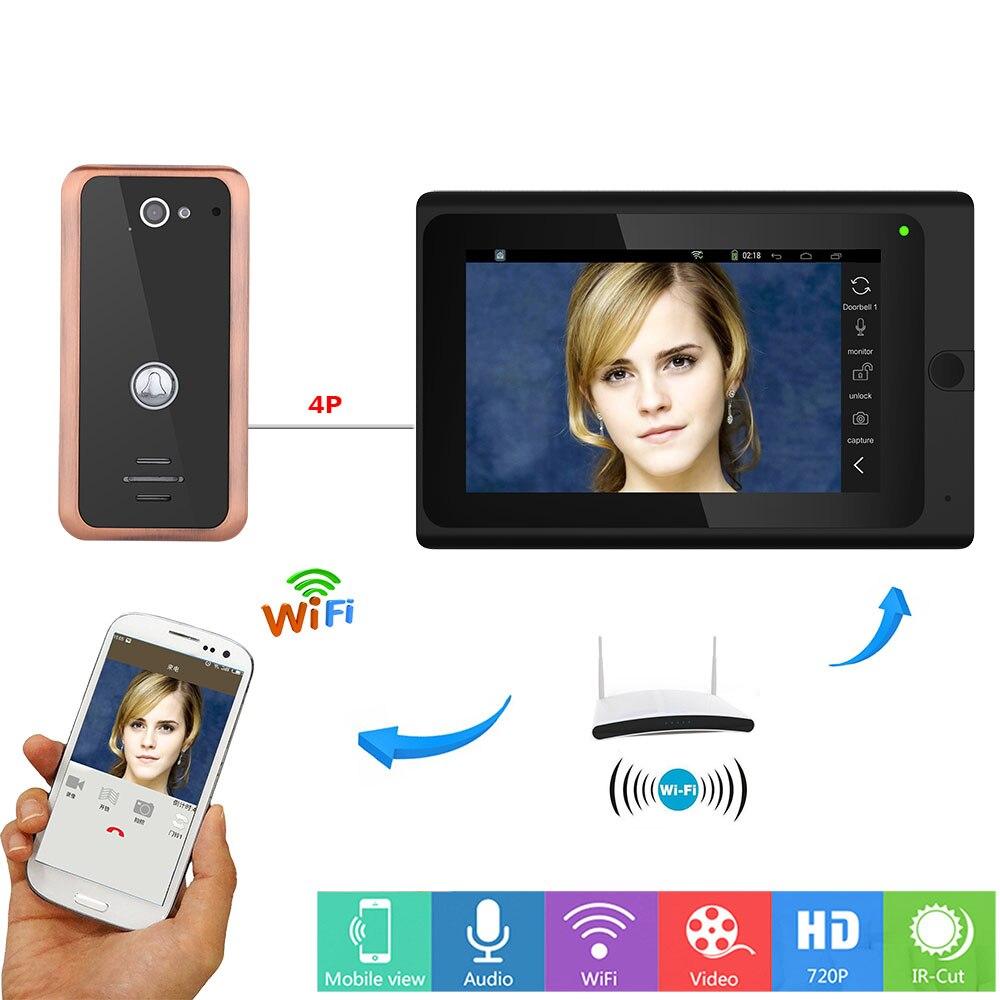 7 inch Wired / Wireless Wifi IP Video Door Phone Doorbell intercom HD 1000TVL Aluminum Alloy Camera Video Intercom Doorphone
