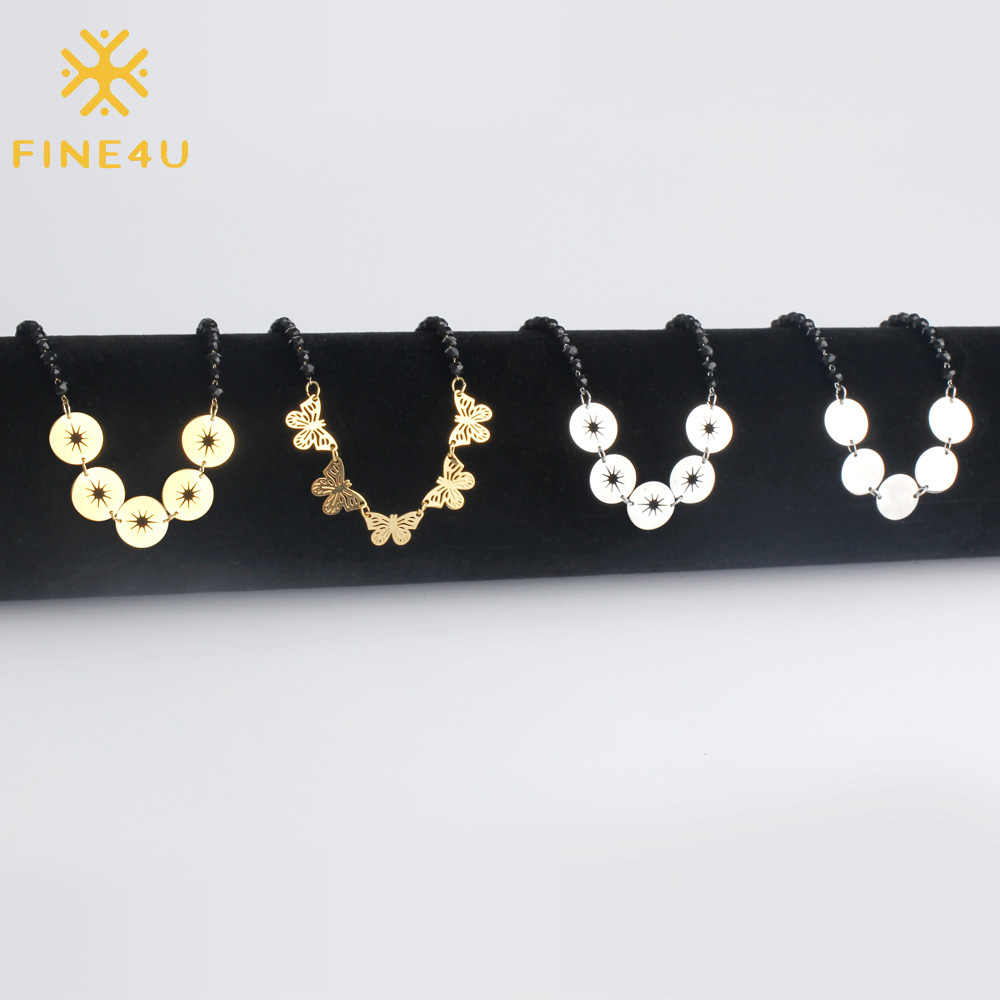 FINE4U N133 Stainless Steel Butterfly Coin Choker Necklace Black Beads Necklaces For Women Girl Gifts 2019 Rosary Jewelry