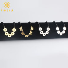 FINE4U N133 Stainless Steel Butterfly Coin Choker Necklace Black Beads Necklaces For Women Girl Gifts 2019 Rosary Jewelry(China)