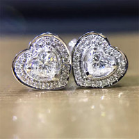 LASAMERO 0 27CTW Heart Cut Natural Diamond Cluster Earrings 18K White Gold Diamond Halo Stud Earrings