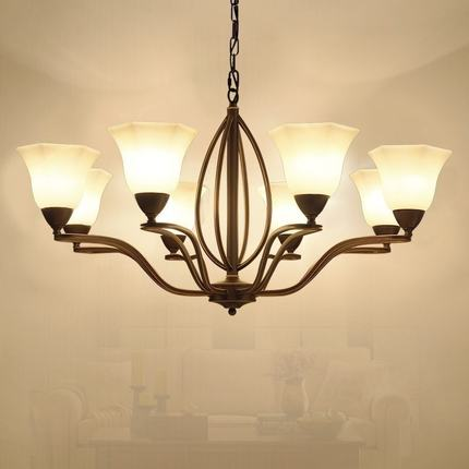 American Village Simple Pendant Light Iron Living Room Master Bedroom Light Creative Ret ...