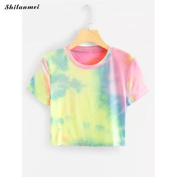 2019 Tie Dye Print Loose Oversized Women Streetwear Hippie Hip Hop Short Sleeve Color Block Tee Top T Shirt Korean T-Shirt