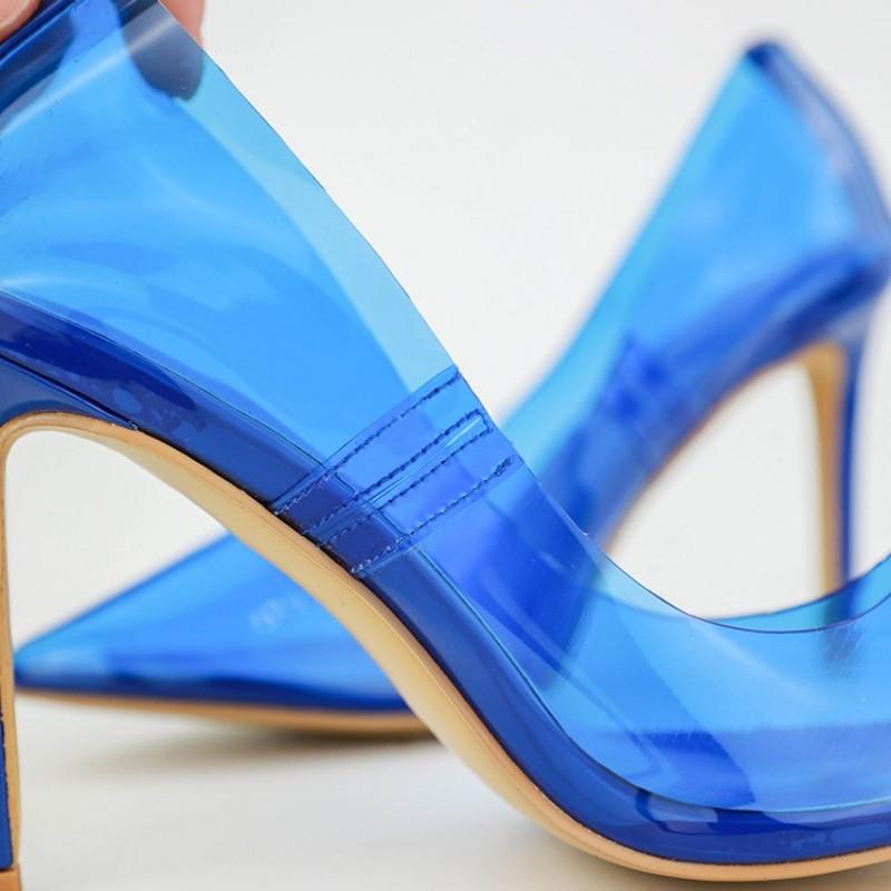 Mulher Schuhe Sapatos Party Black Pumpt Sexy Spitz white Hakken blue pink yellow Pvc High beige Weibliche Mode Heels Frau Transparent Hochzeit Damen orange qxw4IZF