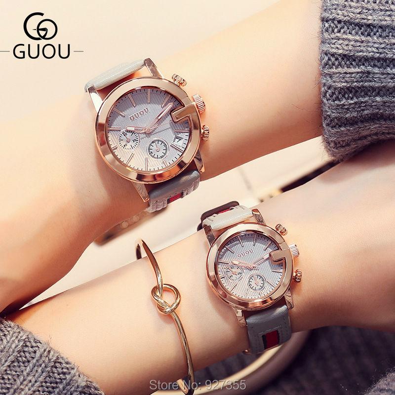 2018 Top Lover's GUOU Watches Fashion Women Luxury Casual Waterproof Ribbon Quartz Watch Female Dress Watches relogio feminino women quartz watch with cartoon ribbon