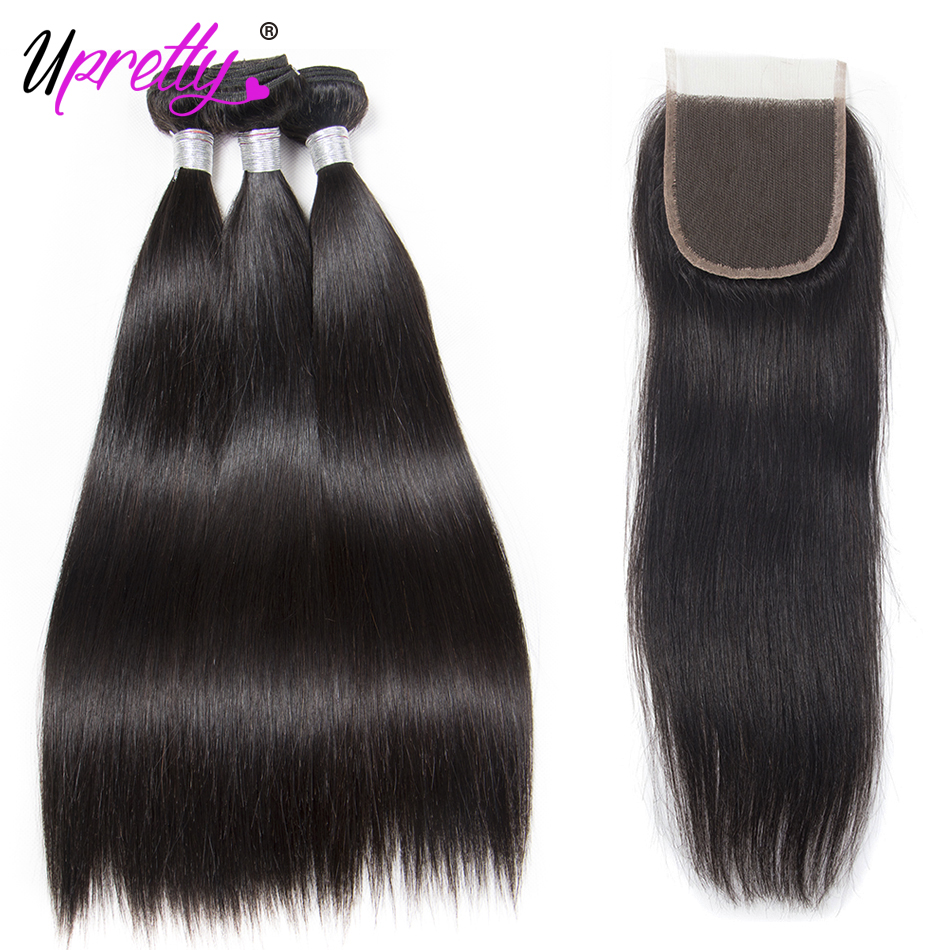 Upretty 3 bundles Raw Indian Hair Bundles With Closure Indian straight Remy Human Hair Weave Bundles With 4x4 Top Lace Closure