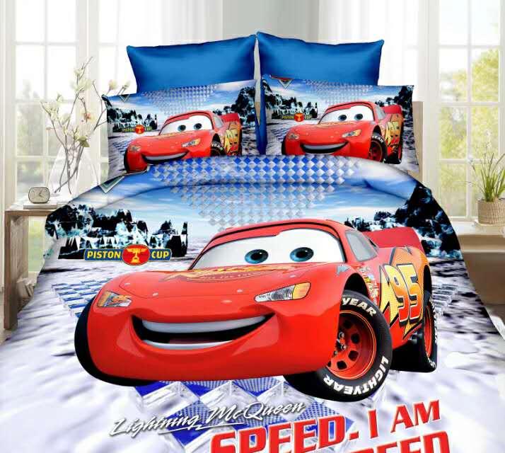 Disney Lightning mc queen print bed sheet set twin single size 3pcs cartoon cars duvet cover kids child boys bedroom decor gift