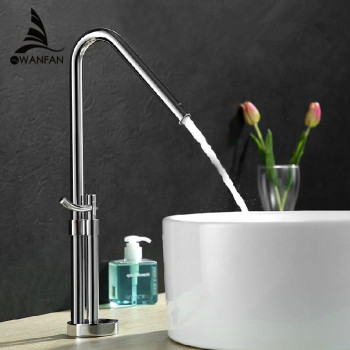 Basin Faucetst Chrome Silver Bathroom Faucet Single Handle Kitchen Sink High Arch Single Lever Hot Cold Mixer Water Tap LT-801B