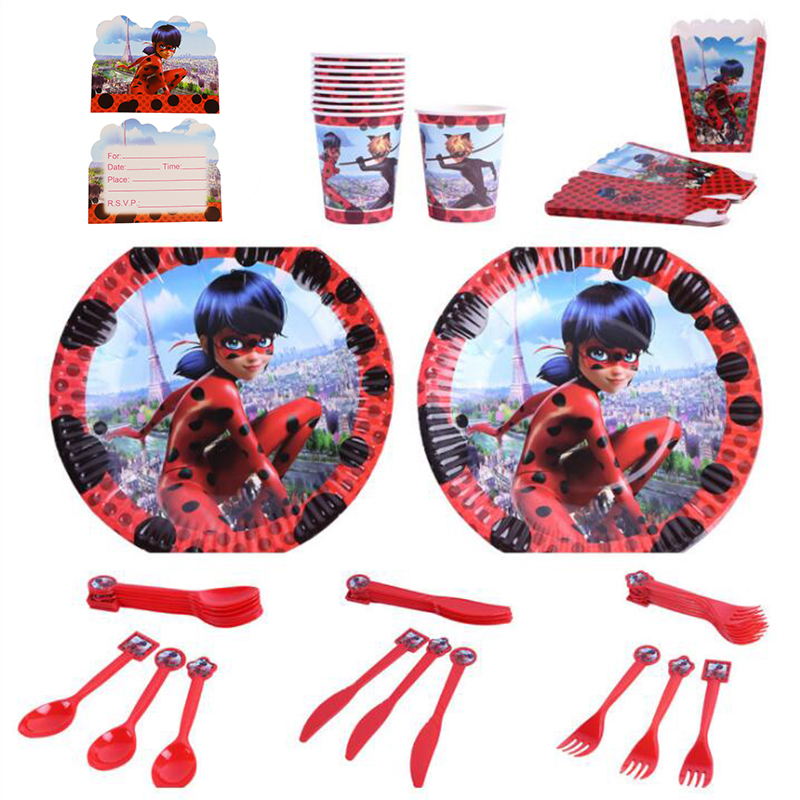 131pcs/lot Miraculous Ladybug Children Birthday Party Kids Party Supplies Birthday Disposable Tableware Sets Kids Party Favors