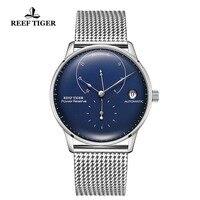 Риф Тигр/RT модные повседневные деловые часы для мужчин Авто Дата часы водонепроницаемые стальные часы для часов механические часы RGA82B0-2