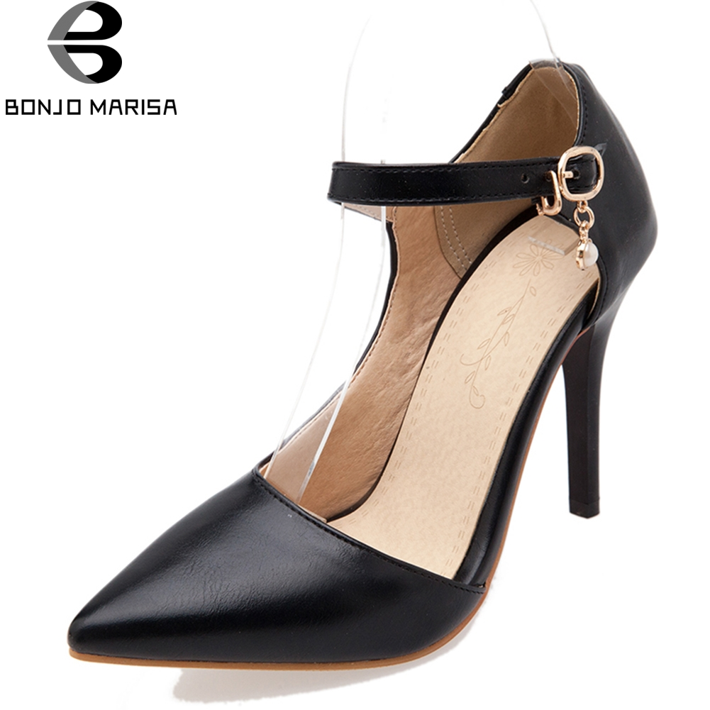 BONJOMARISA 2018 Summer Sexy Shallow Sandals Women Plus Size 32-45 Pointed Toe High Thin Heels Shoes Woman Cover Heel Footwear