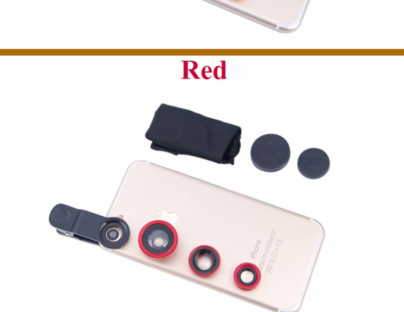 New Fish Eye lens,Wide Angle + Clear Macro Lens For Iphone 5s 6 7 Universal 3 in 1 Phone Camera Len For Sansung Huawei Sony HTC 19