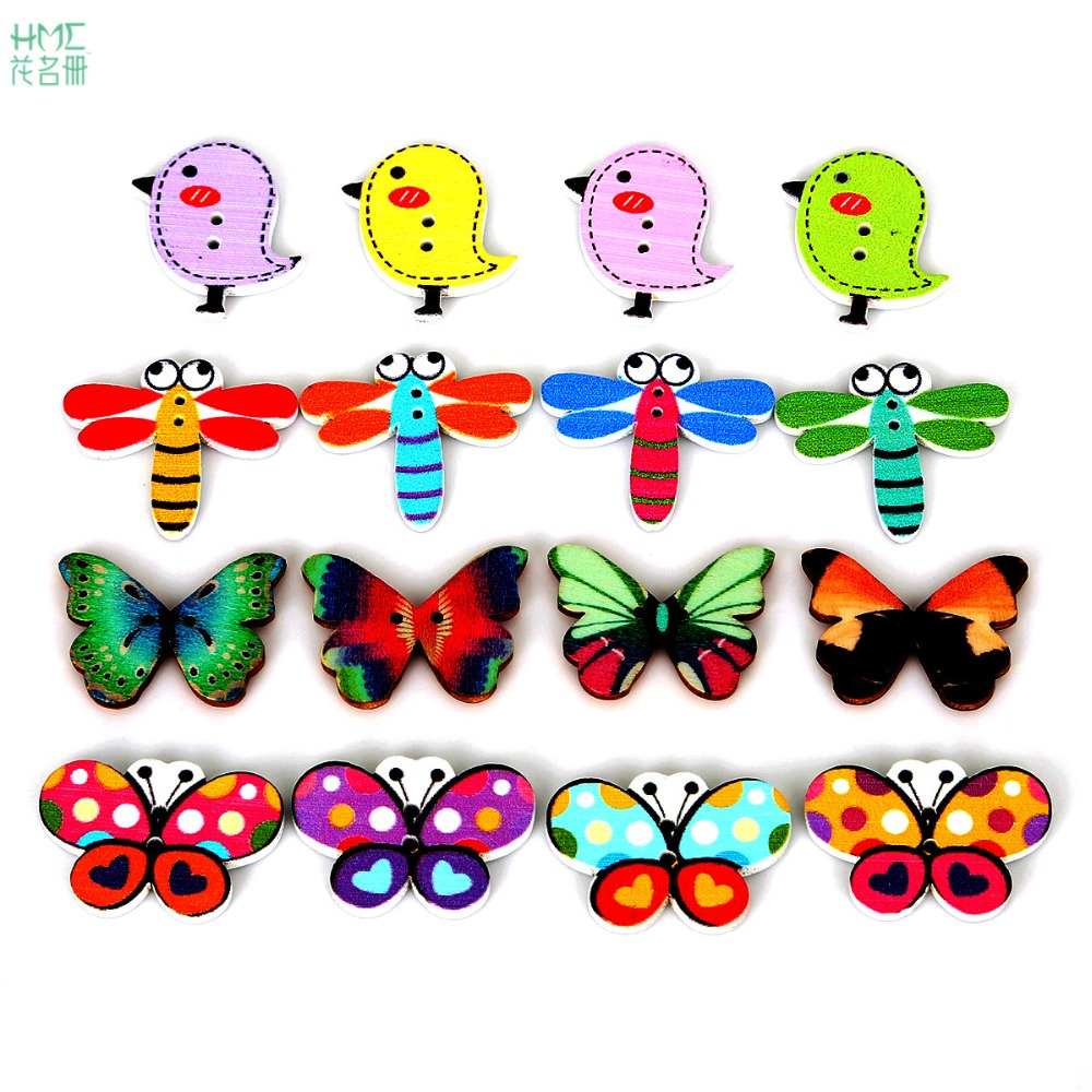 50pcsbag colorful 2 holes mixed color butterfly dragonfly pigeon wooden buttons sewing scrapbooking craft scrapbooking making in buttons from home garden - Color Butterfly 2