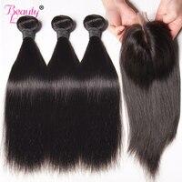 Peruvian Straight Hair Bundles With Closure Human Hair 3 Bundles With Closure Middle Part 4 Bundle