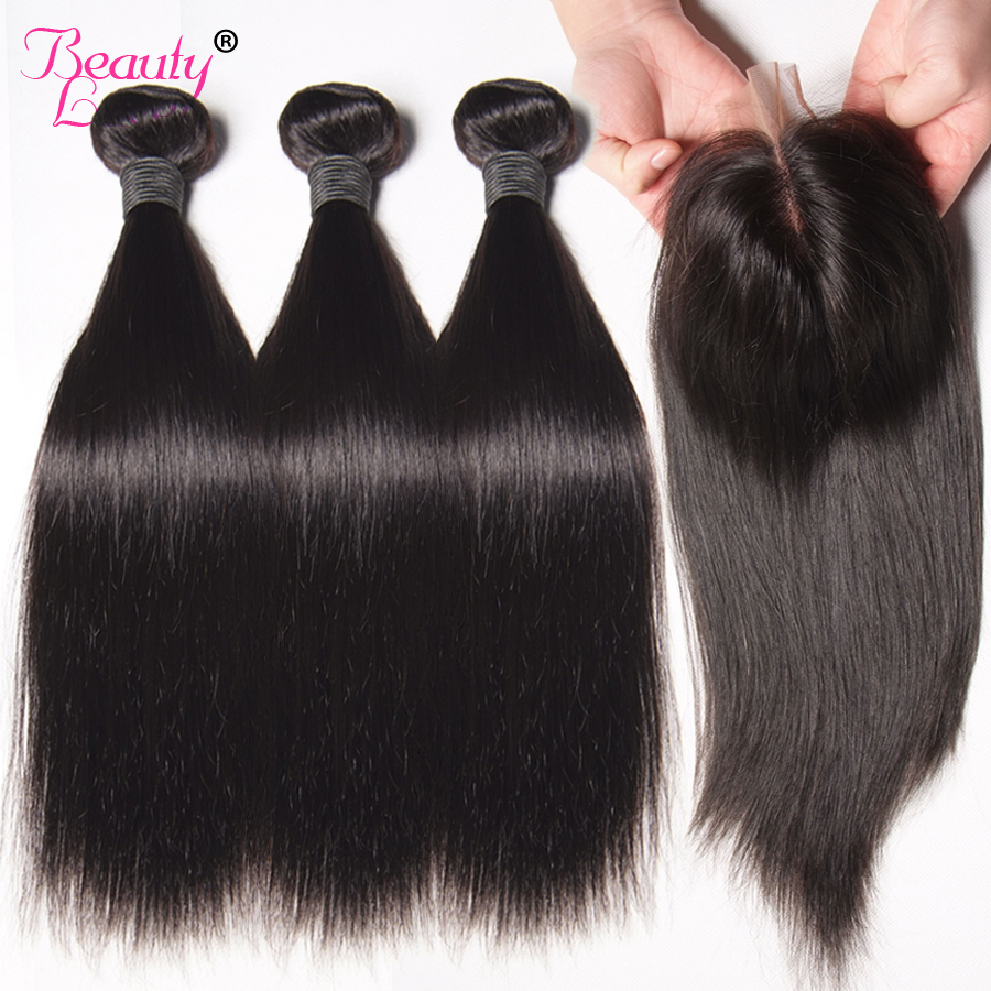 Peruvian Straight Hair Bundles With Closure Human Hair 3 Bundlar With - Mänskligt hår (svart)