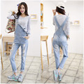 2017 New Free shipping Plus size Korean New Womens Jumpsuit Denim Overalls Casual Skinny Girls Pants Jeans