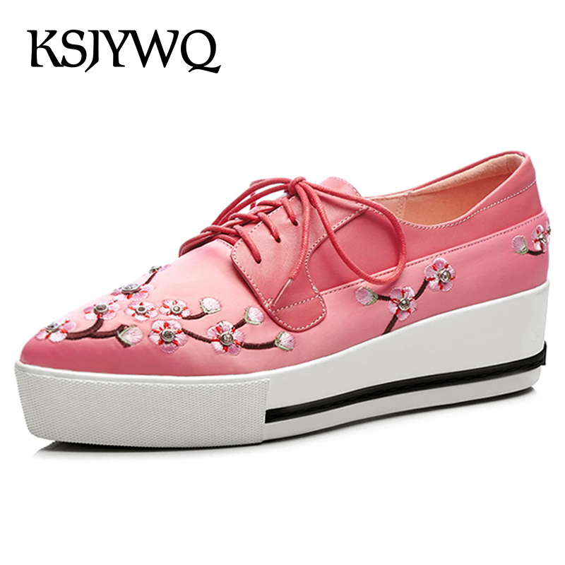 KSJYWQ Genuine Leather Women Flat Platform Shoes 5 CM Thick Soles Lace-up Red Loafers Spring Casual Woman Shoes Box Packing 3031 brand new spring shoes woman genuine leather fashion lace up women flat shoes casual platform shoes women