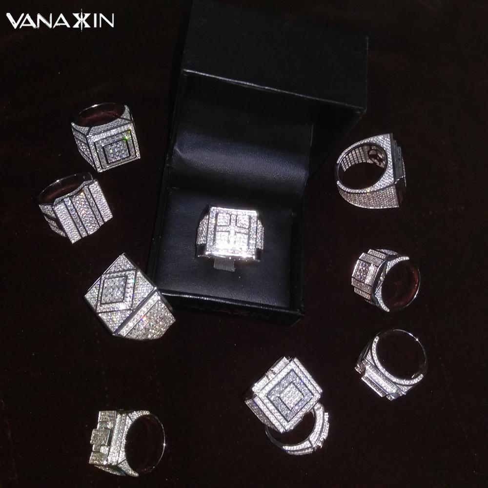 VANAXIN 925 bagues en argent Sterling pour hommes grand Style Punk anneaux bijoux liquidation vente de haute qualité AAA glacé boîte à bijoux CZ