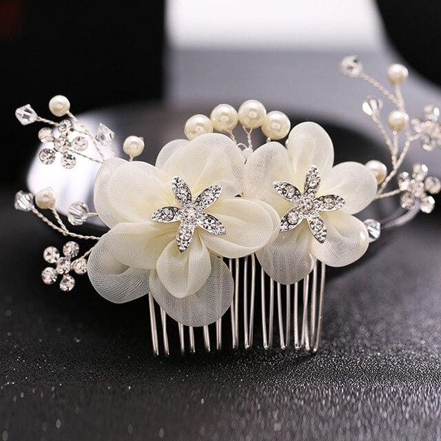Романтические свадебные Женские аксессуары для волос для невесты элегантные цветочных растений с горный хрусталь волос гребень жемчужина головной убор Для женщин Украшения для волос