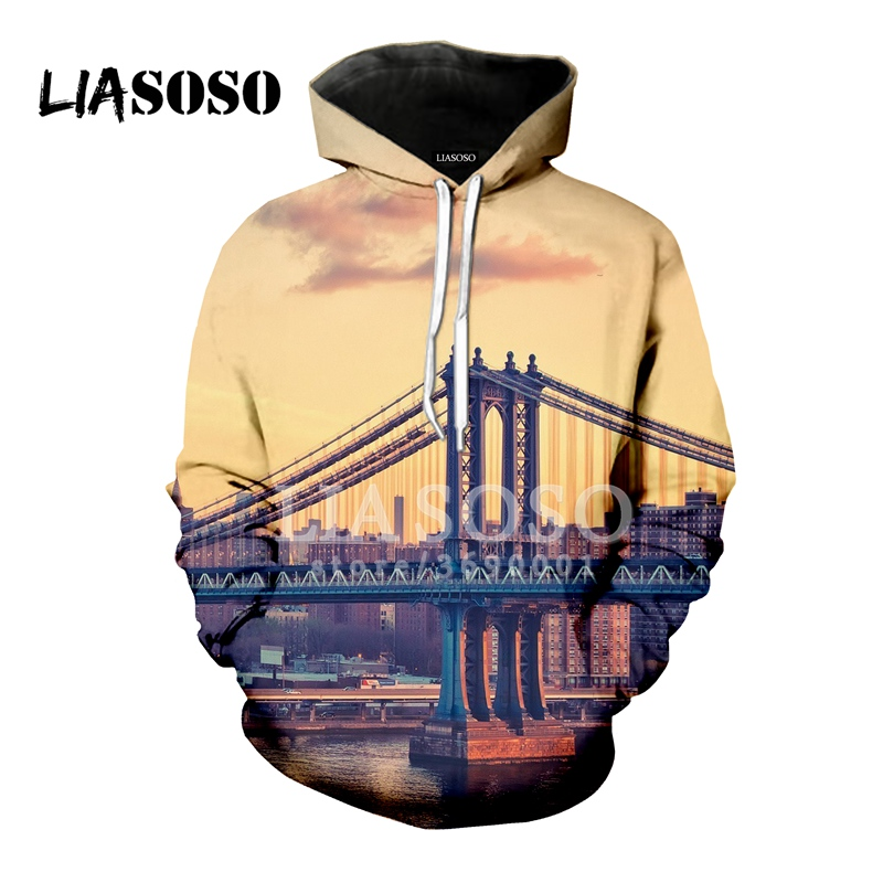 LIASOSO America New York City Scenery 3D Print Women Men Hooded Hoodies Sweatshirts Pullover Casual Hip Hop High-quality X0824 image