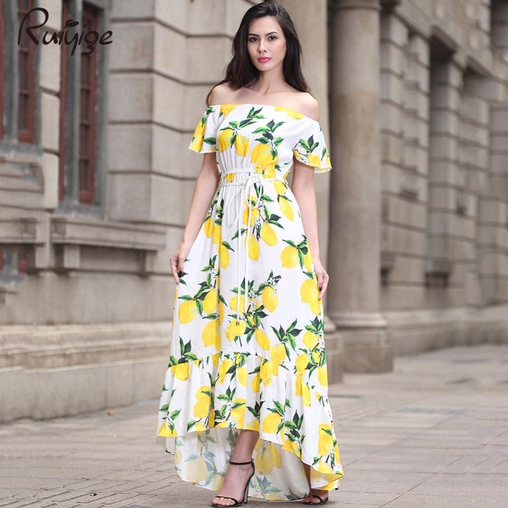 New 2017 Plus Size Chiifon Summer Women Dress Short Sleeve Casual Sexy Wide Boat Neck Vestidos Floral Print Long Maxi Dress