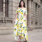 Cheap New 2017 Plus Size cotton summer Women Dress Short Sleeve Casual Sexy Wide Boat Neck Vestidos Floral Print Long Maxi Dress