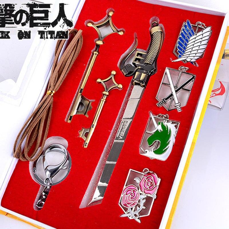 cartoon Attack on Titan Eren Jager Mikasa Ackerman Rival Ackerman Shingeki no Kyojin Badges Keychains Necklace 9pcs недорого