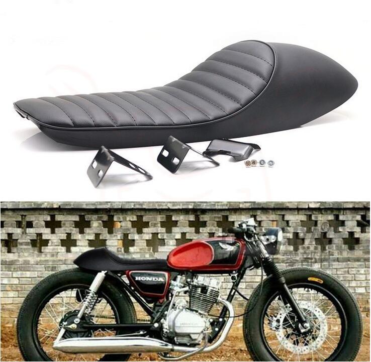 Saffen Black Motorcycle Cafe Racer Seat Scrambler Vintage Flat