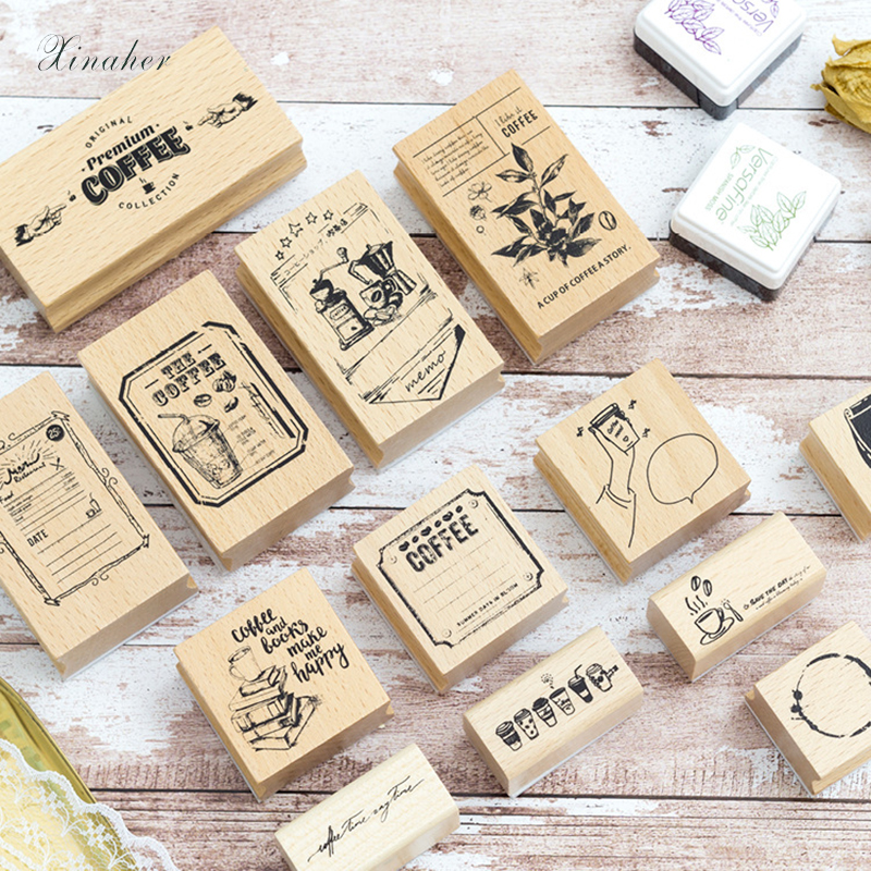 XINAHER Vintage Coffee Shop Stamp DIY Wooden Rubber Stamps For Scrapbooking Stationery Scrapbooking Standard Stamp