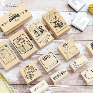 Stamp DIY Wooden Coffee-Shop Vintage Stationery Scrapbooking for XINAHER