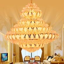 LED Modern Gold Crystal Chandeliers Lights Fixture Golden Lotus Flower Crystal Chandelier Home Indoor Lighting Big Lobby Lamps
