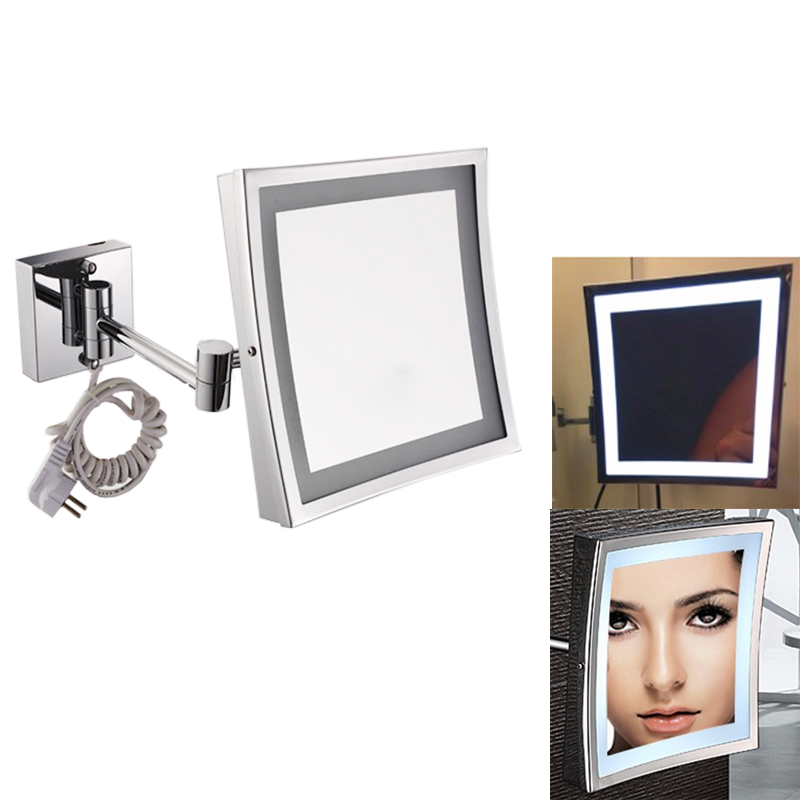 New 8.5 Inch LED Light Wall-mounted folding cosmetic mirror 3X Magnifying LED Makeup Mirror bathroom mirror Free Shipping large 8 inch fashion high definition desktop makeup mirror 2 face metal bathroom mirror 3x magnifying round pin 360 rotating