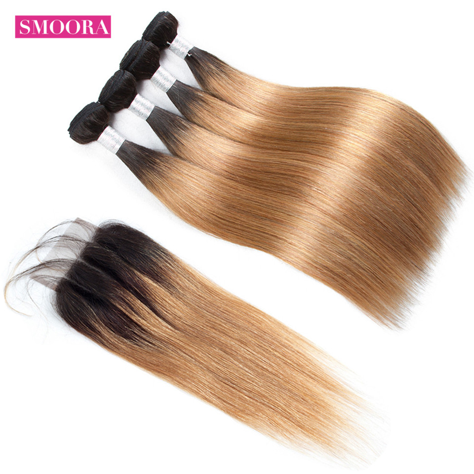 Smoora Hair Ombre  Straight 4 Bundles With Closure T1B/27 Ombre  Bundles With Closure Honey Blonde Non  1