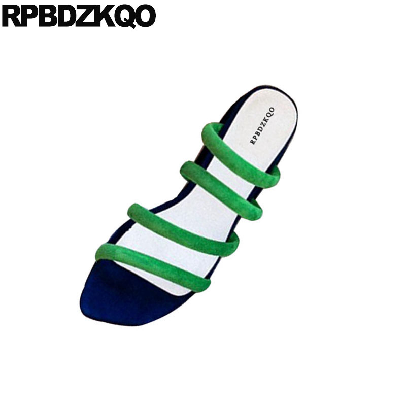 Gladiator Green Slides Shoes Designer Suede Female Strappy Women Sandals 2018 Summer Low Heel Square Thick Chunky Blue Roman sandals women summer suede female gladiator roman 6cm wedges shoes