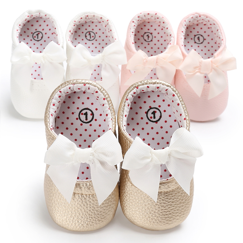 Hot Selling Infant Baby Shoes PU Leather Bowknot Princess Shoes Toddler Slip on Prewalkers 0-18M