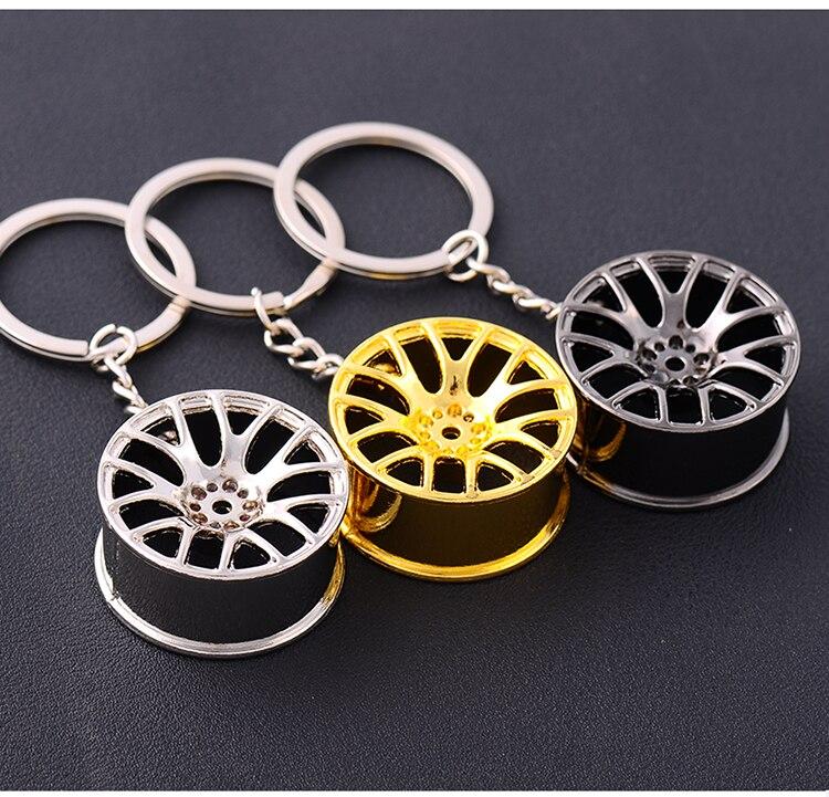 Творческий автомобиль концентратора Форма металлический брелок металлической цепочкой цинковый сплав турбины переоборудованы колесо висит аксессуар брелок подарок 2 шт
