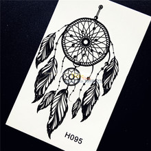 1PC Black Dreamcatcher Feather Body Decal Temporary Tattoo Sticker Waterproof Arm Back Tatoo For Women Fake Tattoo Stickers HH95