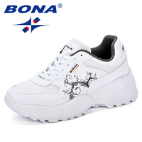 BONA New Designer Woman CasualShoes Breathable 2018 Sneakers Women New Arrivals Fashion Platform Ladies Shoes Comfortable Trendy