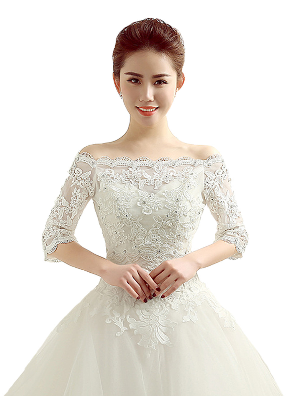 Crocheted Beige Cream Short Wedding Dress Jacket Off The Shoulder