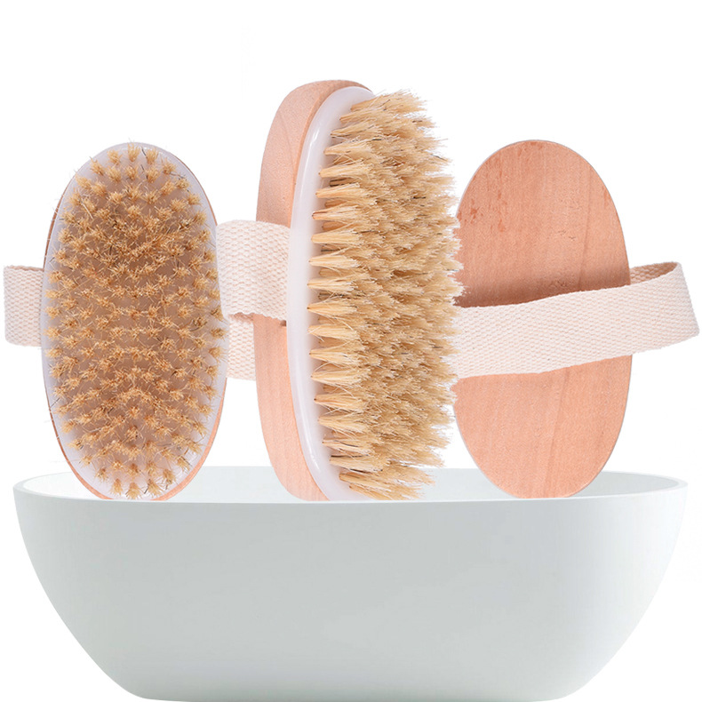 Hot Dry Skin Body Soft natural bristle the SPA the Brush Wooden Bath Shower Bristle Brush SPA Body Brush without Handle image