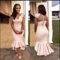 Sexy V Neck Lace And Satin Ruffles mermaid Mother of the Bride Dresses Hi Lo Prom Mother Bride Dresses