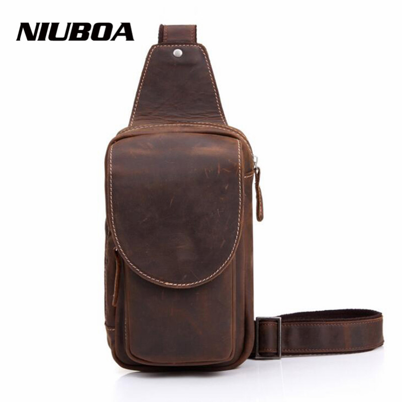 NIUBOA Men's Cowhide Chest Bags Men Shoulder Bag Small Cell Phone Flap Strap Sling Men Messenger Bags Leather Chest Pack new pu leather cell mobile phone case small messenger shoulder cross body belt bag men fanny waist hook pack