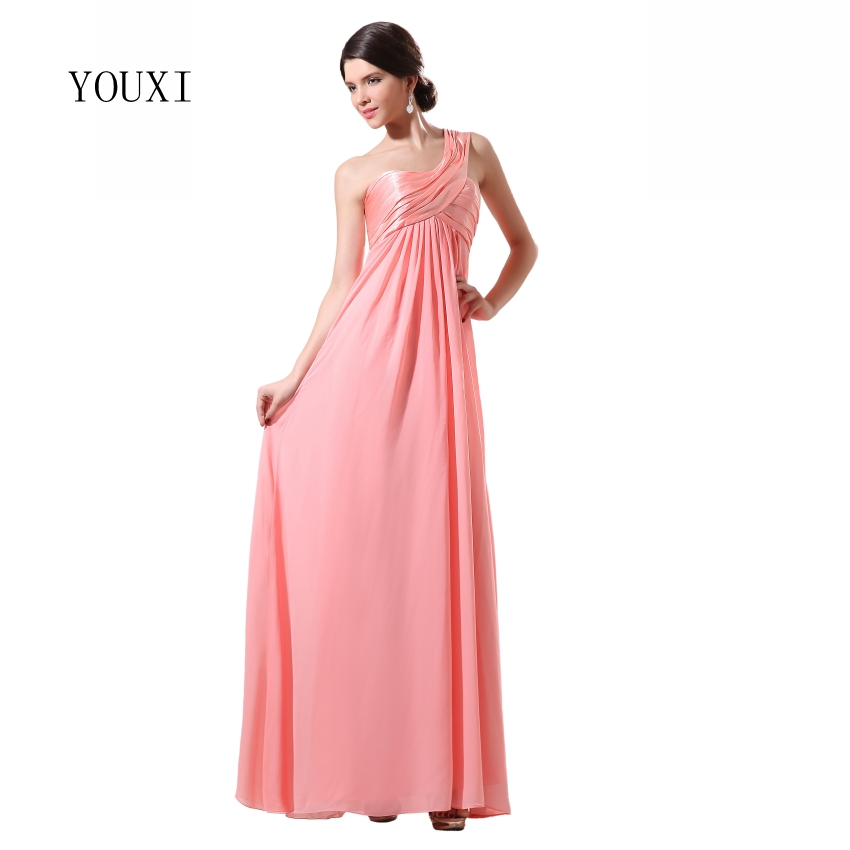 Bridesmaid Dresses 2017 YOUXI BD017 Womens One Shoulder Padded vestidos Chiffon Prom Party Dress